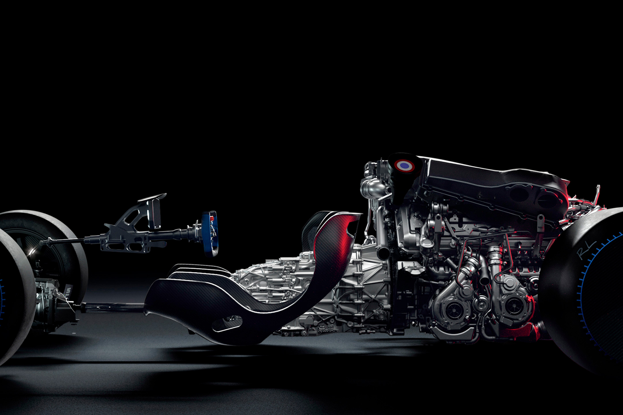 Bugatti Bolide - 2020 - engine / moteur - under the hood - W16 8.0L - quad turbochargers exhaust