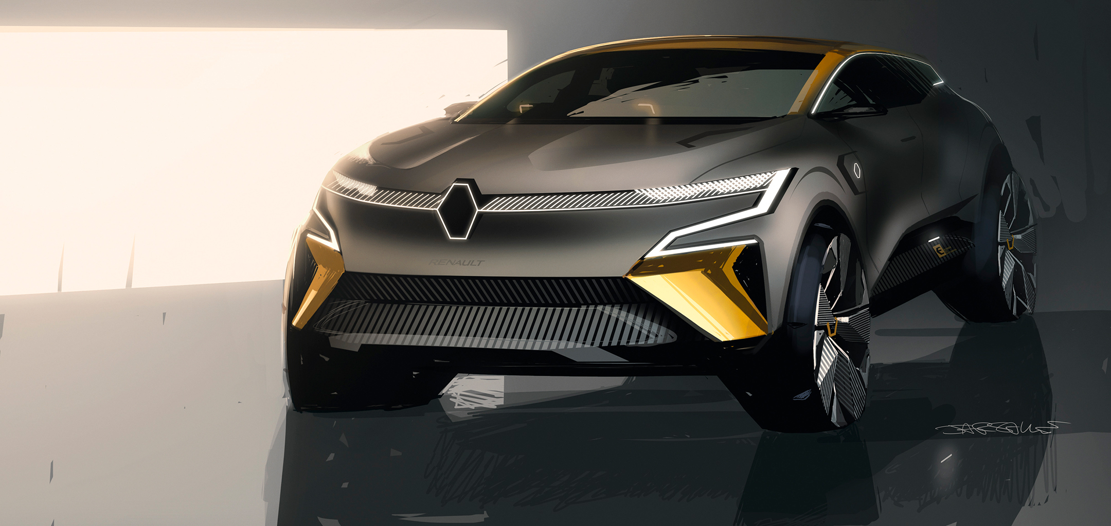 Renault Mégane eVision show-car - 2020 - drawing sketch - front side-face / profil avant