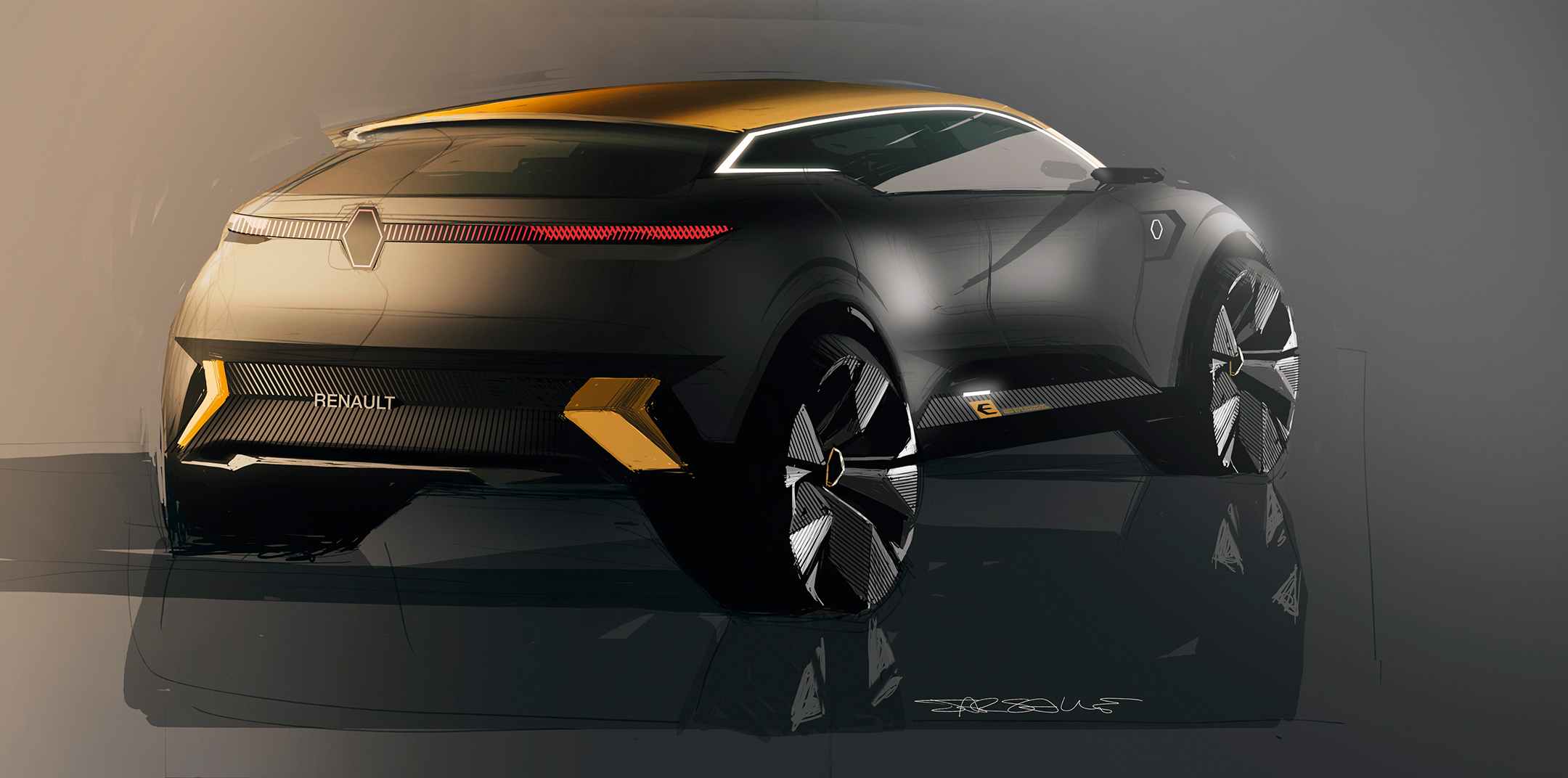 Renault Mégane eVision show-car - 2020 - drawing sketch - rear side-face / profil arrière