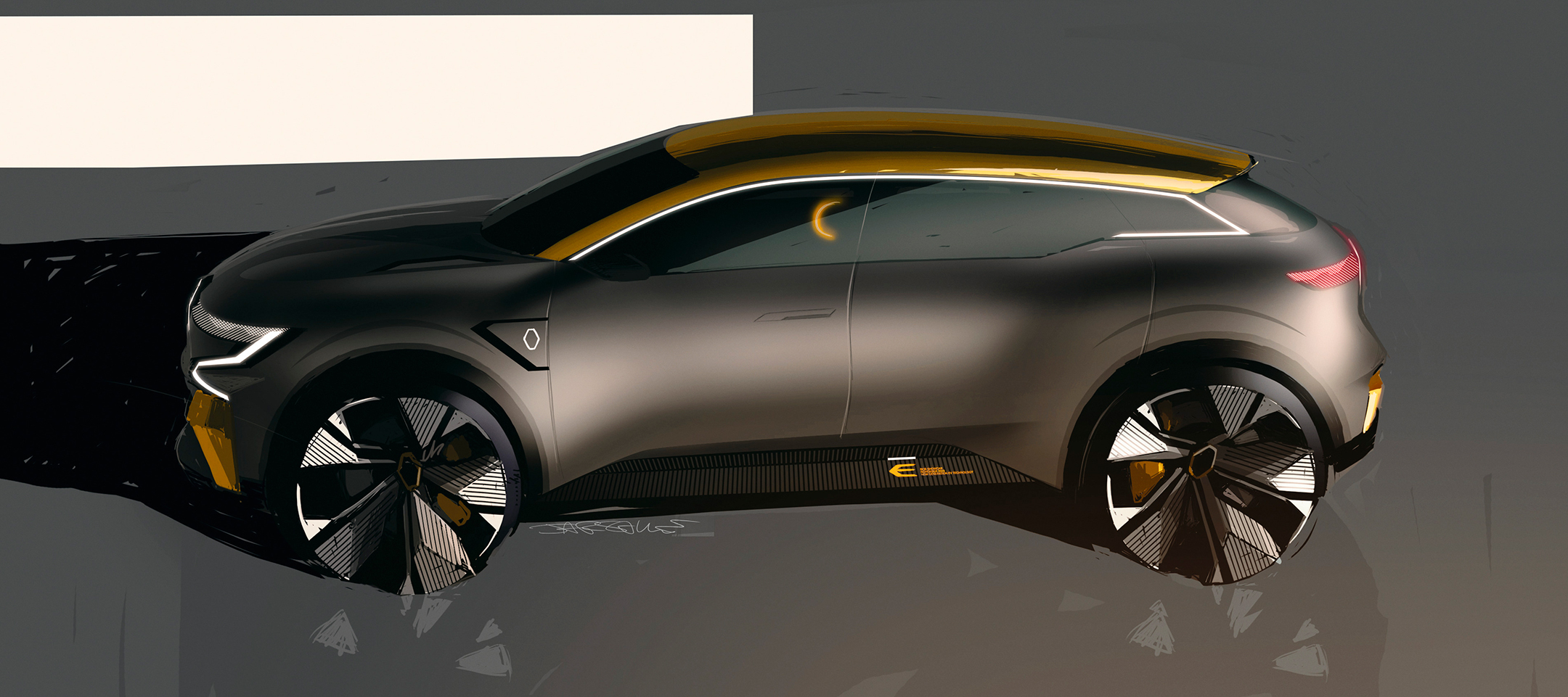 Renault Mégane eVision show-car - 2020 - drawing sketch - side-face / profil