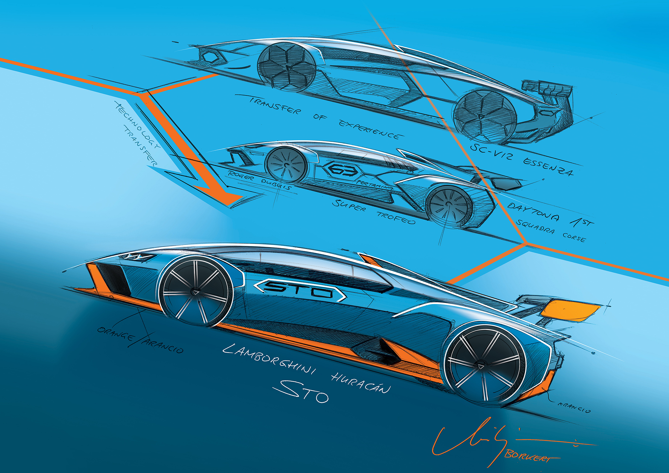 Lamborghini Huracán STO - 2020 - sketch design - side-face / profil