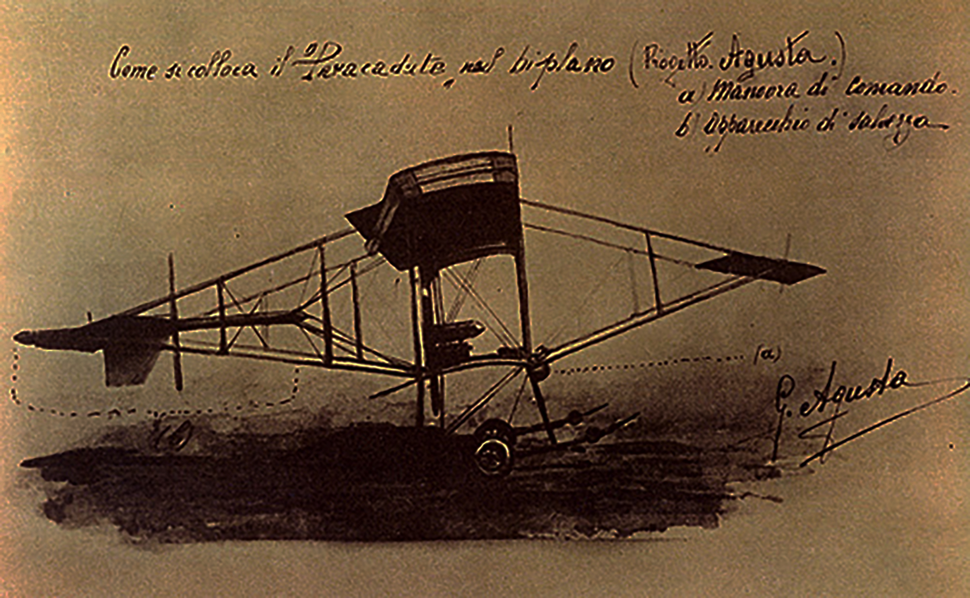 AG1 plane by Giovanni-Agusta - 1907 - drawing design-heritage via museoweb it