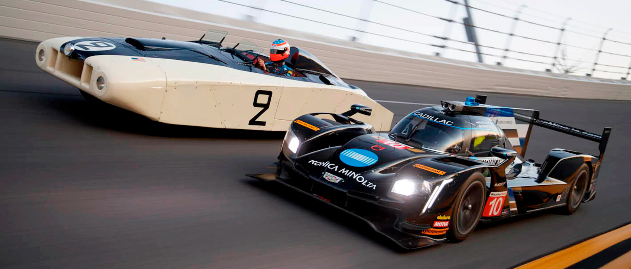 Cadillac - heritage racing 1950 24 Hours of Le Mans race saw the entry of two Cadillac Series 61 racers  - vs - Cadillac DPi-V R prototype racer, - won its debut race at the 2017 Rolex 24 at Daytona - speedway