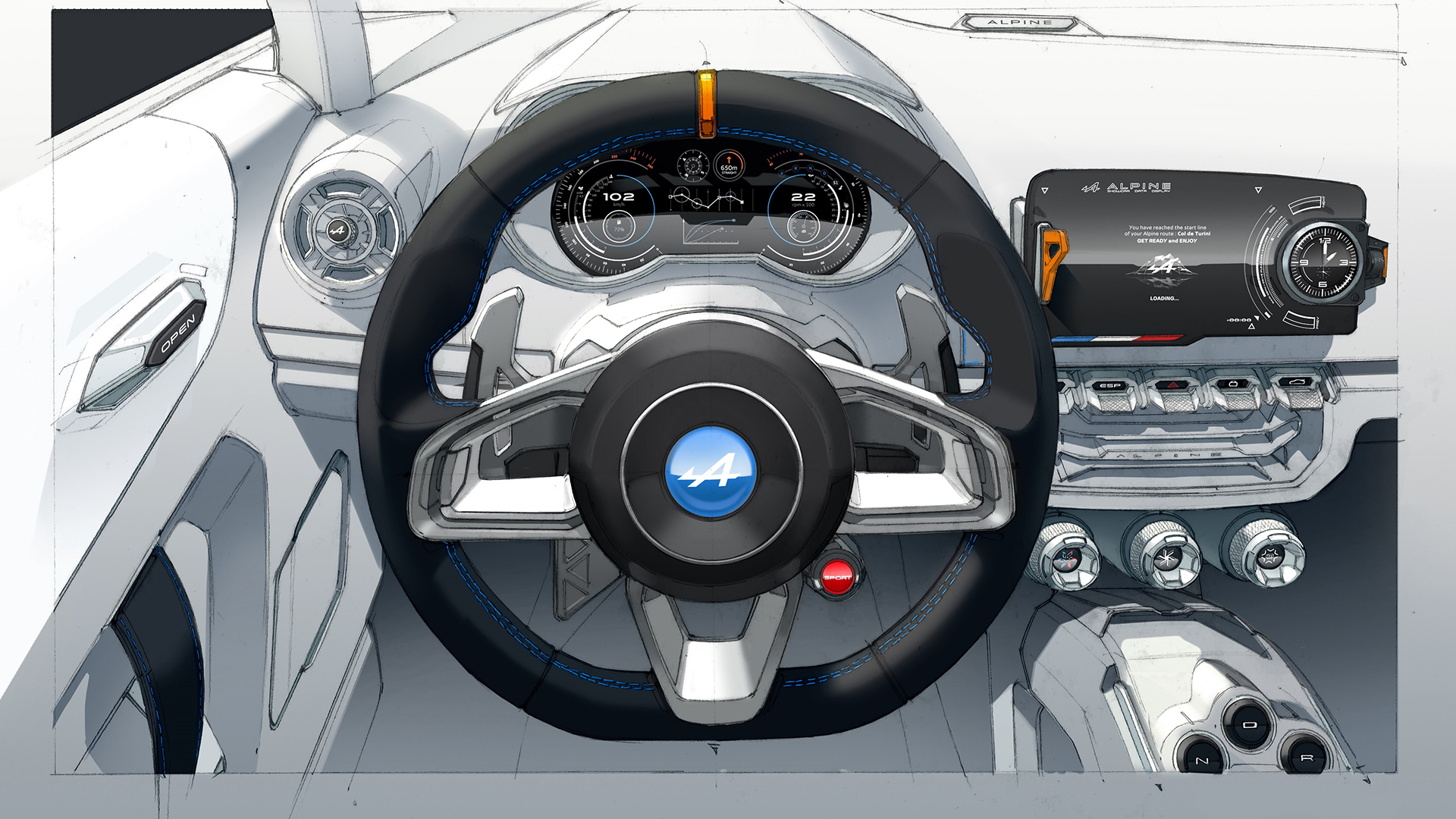 Alpine Vision 2016 - sketch design - volant / steering wheel