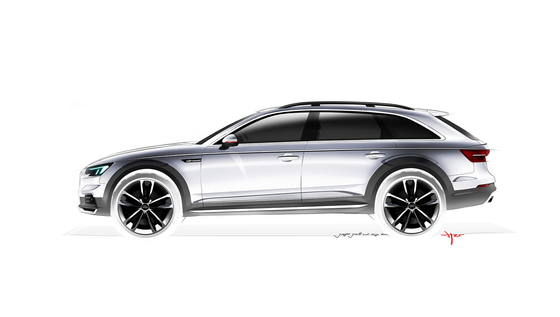 Audi A4 allroad quattro - 2016 - sketch - profil / side-face