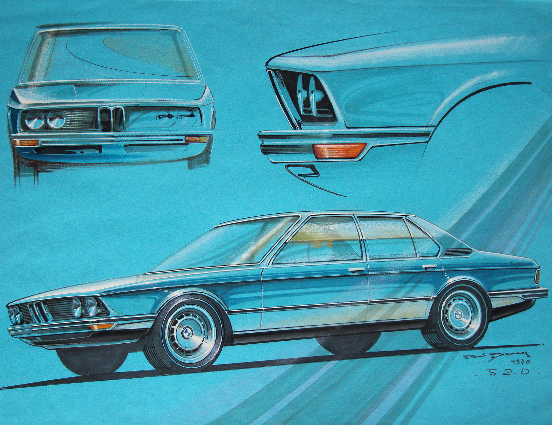 BMW 100 ans de design - sketch Paul Bracq - BMW - archive Grand Tourisme SAS