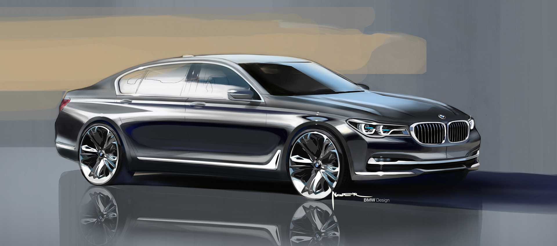 BMW 7serie - 2015 - sketch design - front / avant