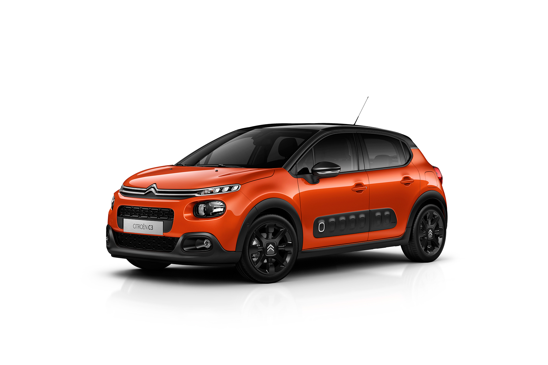 Citroen C3 2016 - front side-face / profil avant - Noir Onyx - teintes Orange Power