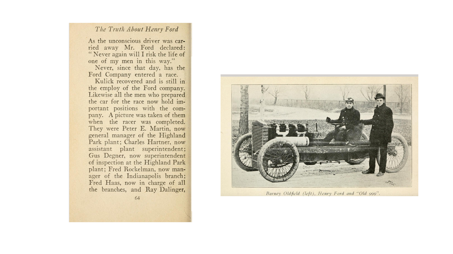 Henry Ford, standing, and Barney Oldfield in 1902, with the Ford 999 racing automobile. - Archive .org