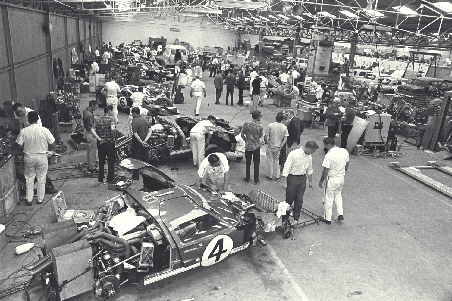 24 Hours of LeMans, LeMans, France, 1966. Ford Racing garage.