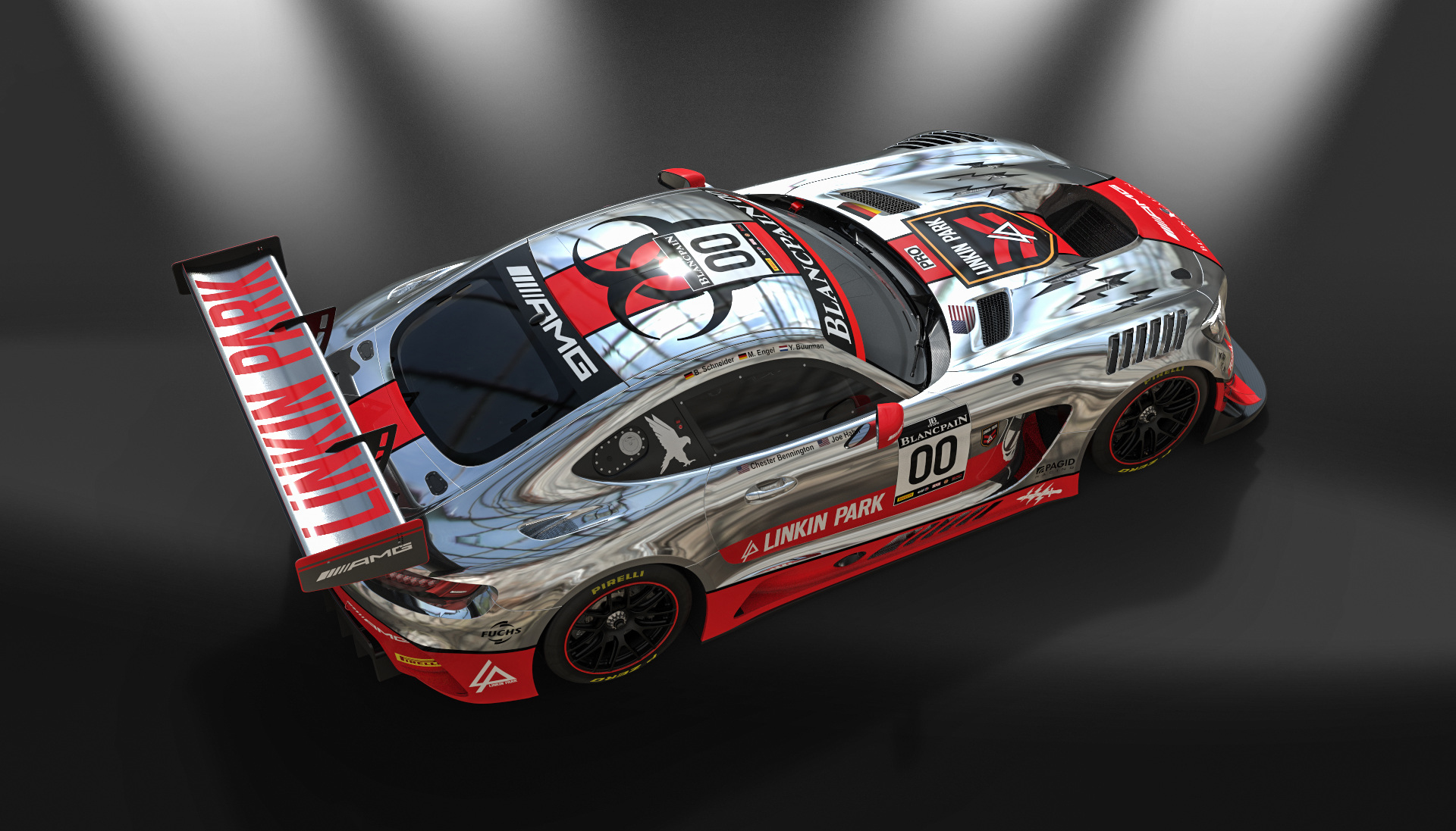 Mercedes AMG GT3 - design by Linkin Park - 2016 - top rear