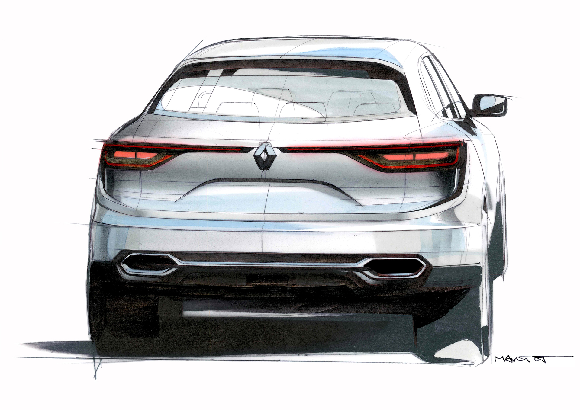 Renault Koleos - 2016 - rear sketch by Alexis Martot - Renault Design