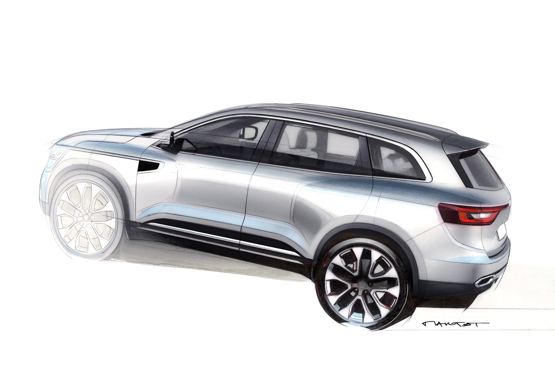 Renault Koleos - 2016 - side-face sketch by Alexis Martot - Renault Design