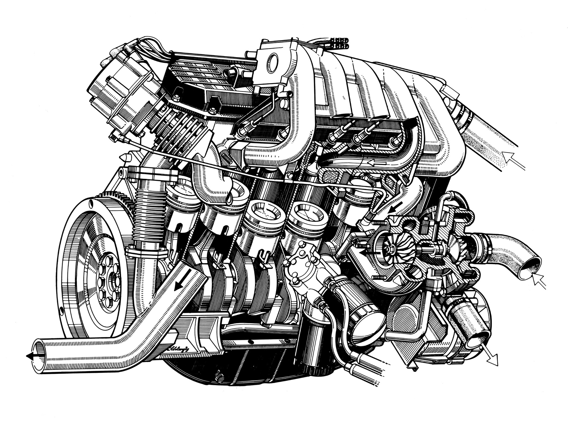 Audi quattro - under the hood - engine 5 cylinder - artwork