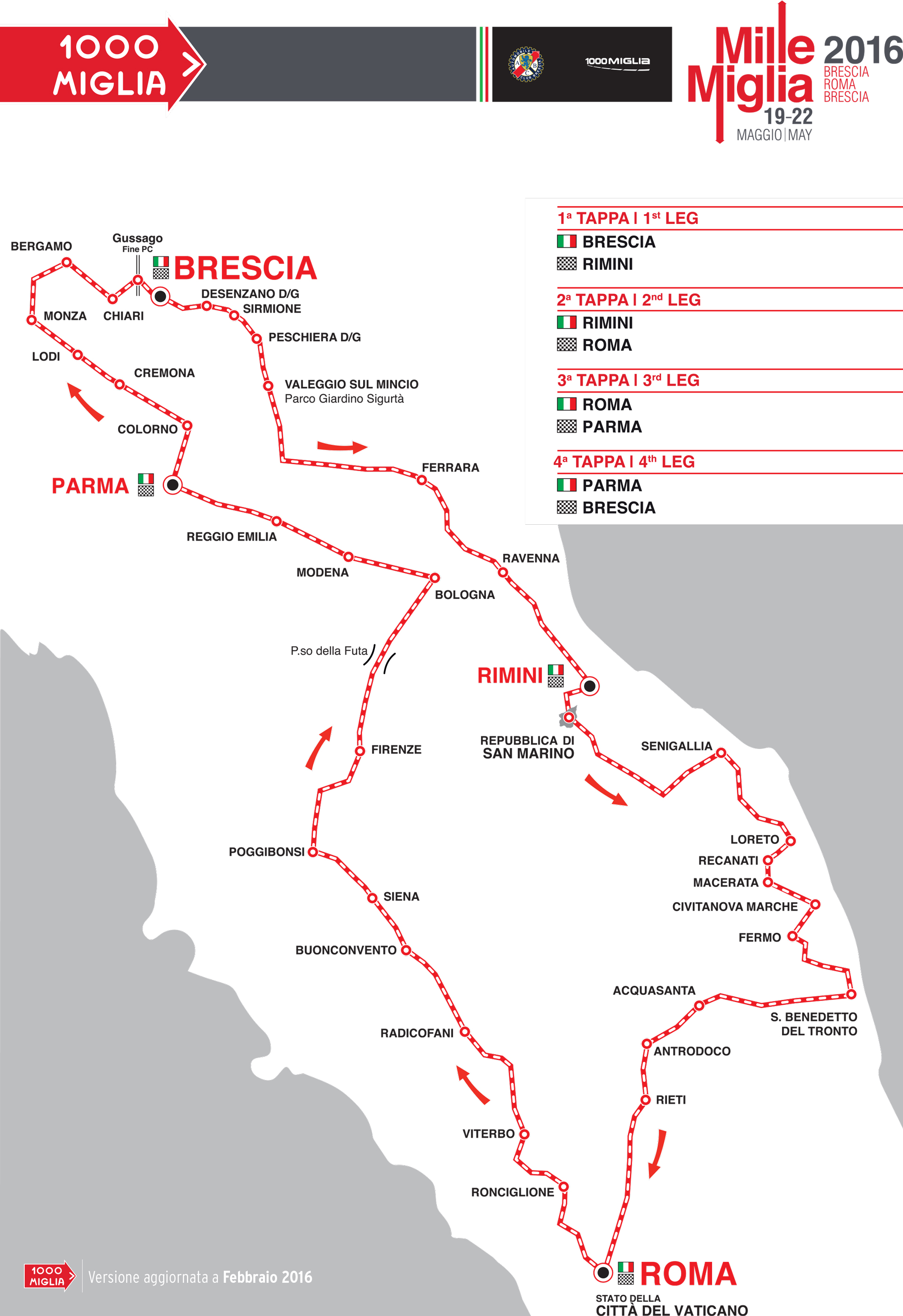 Mille Miglia 2016 - road map